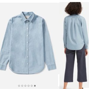 Everlane relaxed button up jeans shirt sz 2